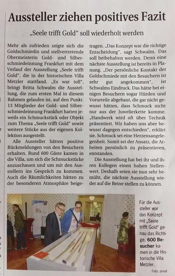 Seele trifft Gold in der Handwerkszeitung Sept. 16